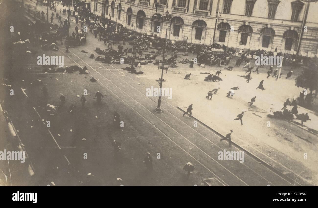 Government Troops Firing on Demonstrators, Corner of Nevsky Prospect and Sadovaya Street, St. Petersburg, Russia - Stock Image