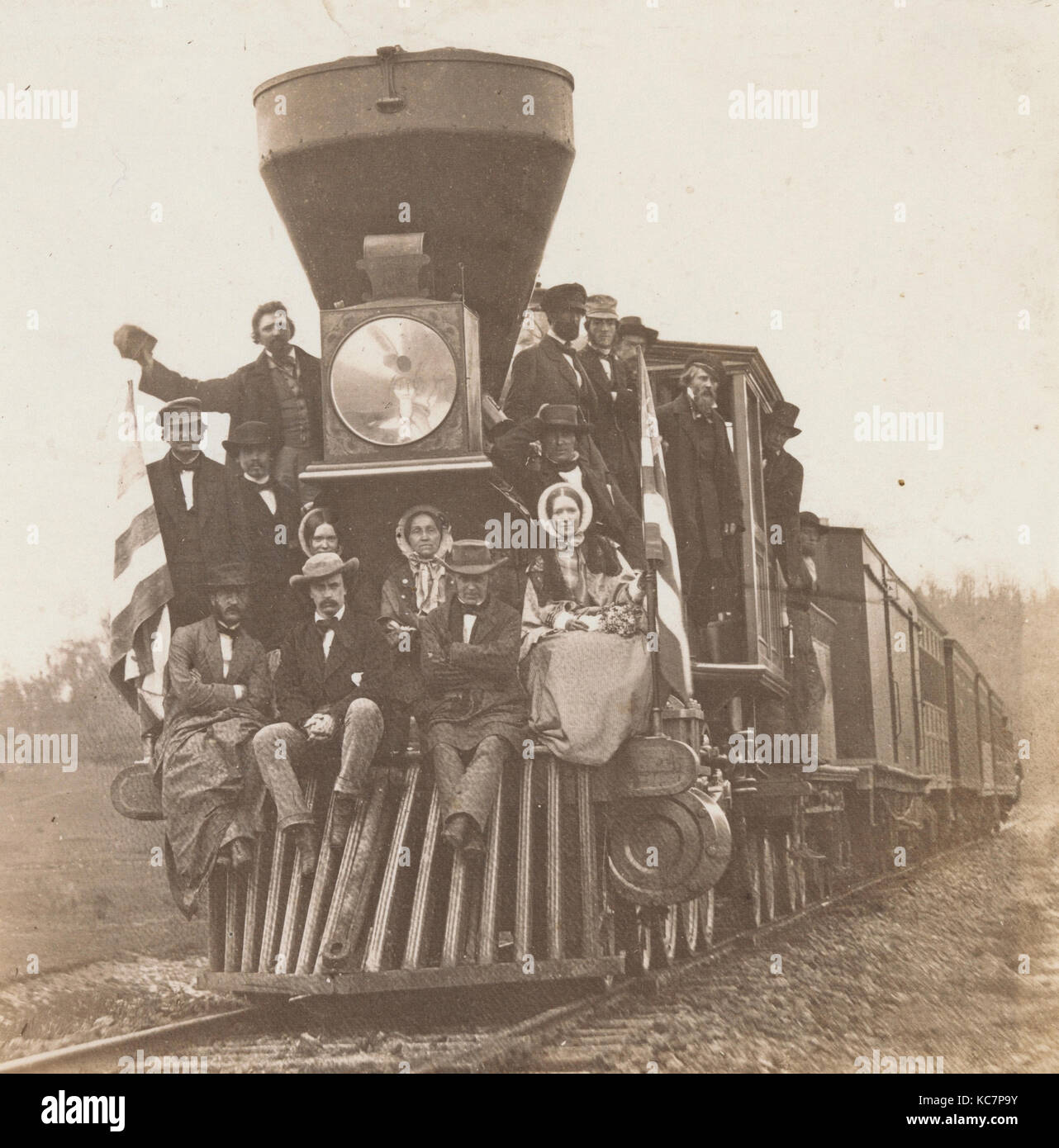 Locomotive on the Baltimore and Ohio Railroad, Near Oakland, Maryland, Unknown, ca. 1860 - Stock Image