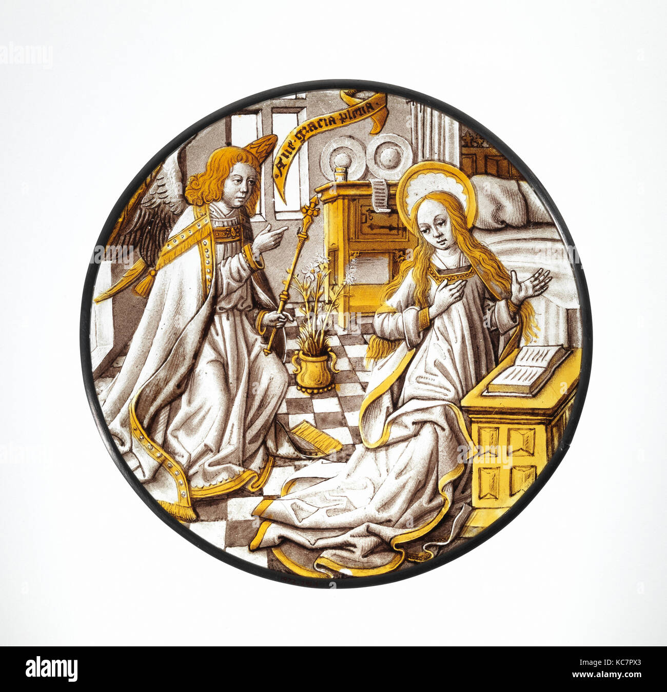 Roundel with Annunciation to the Virgin, 1500–1510, South Netherlandish, Colorless glass, vitreous paint and silver - Stock Image