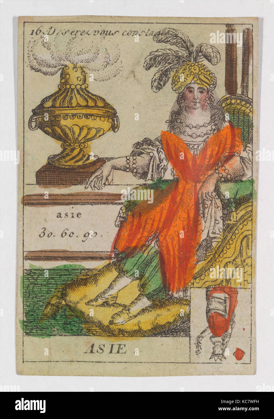 Asie from Playing Cards (for Quartets) 'Costumes des Peuples Étrangers', Anonymous, French, 18th century, - Stock Image