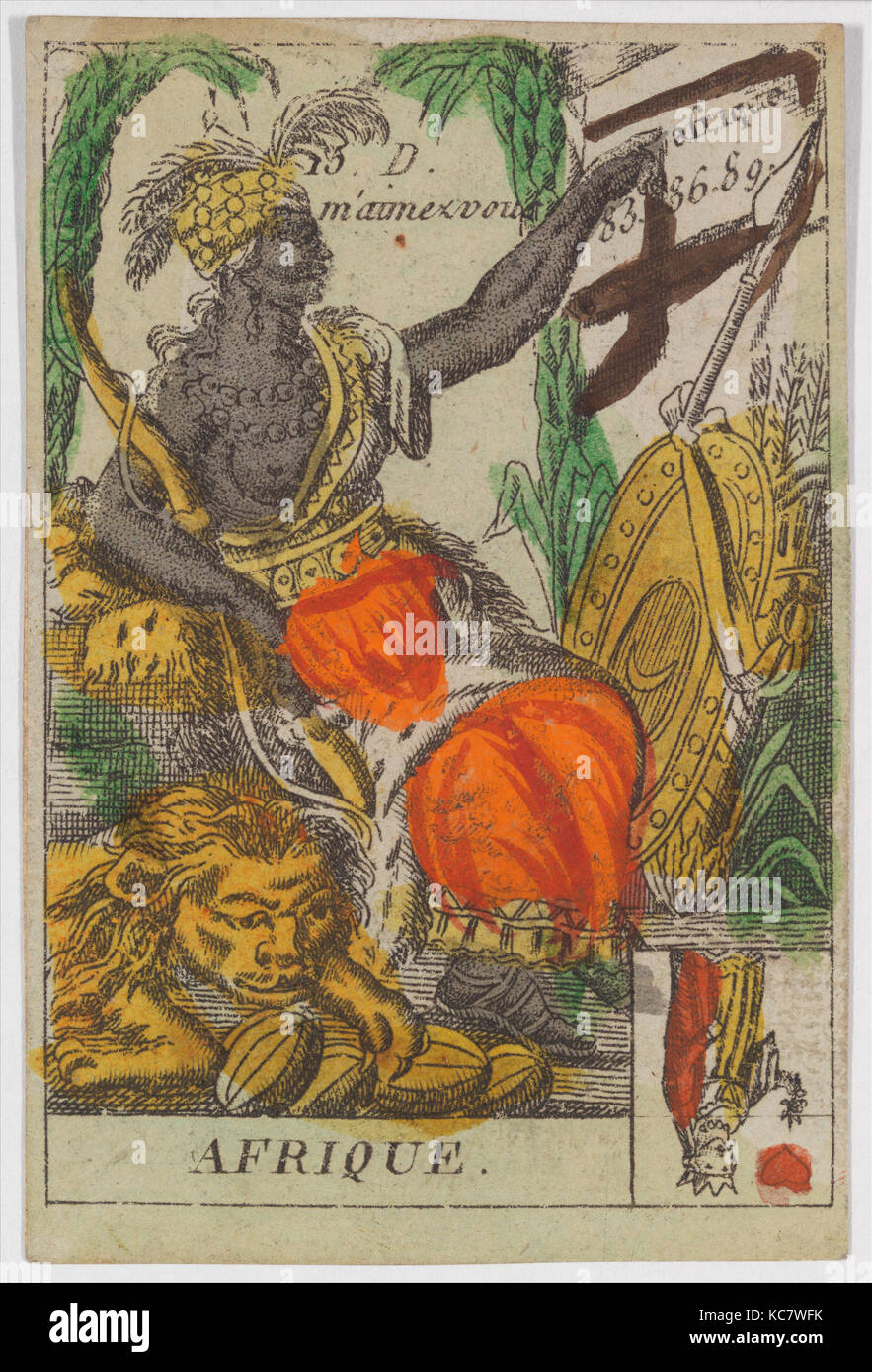 Afrique from Playing Cards (for Quartets) 'Costumes des Peuples Étrangers', Anonymous, French, 18th - Stock Image