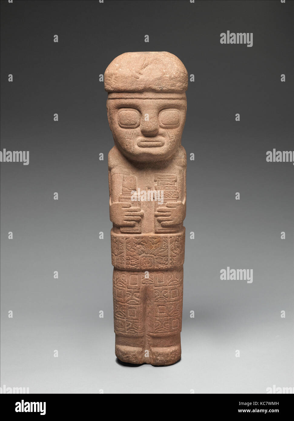 Figure with Ceremonial Objects, 5th–9th century, Bolivia, Tiwanaku, Stone, H. 18 3/8 x W. 4 7/8 x D. 5 in. (46.7 - Stock Image