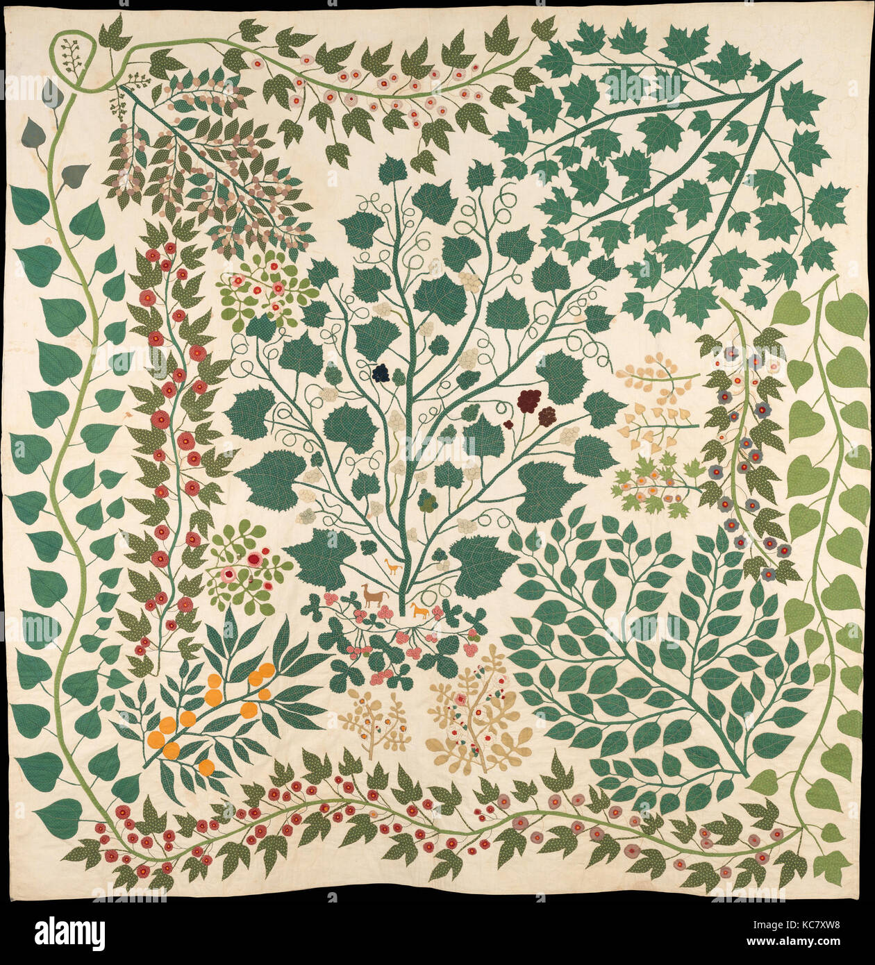 Branches and Vines Quilt, Ernestine Eberhardt Zaumseil, ca. 1875 - Stock Image