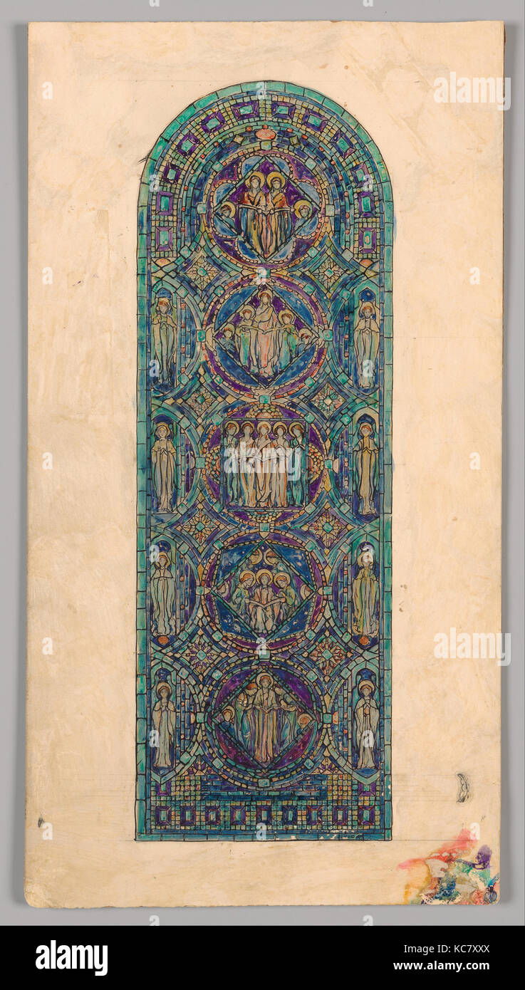 Design for 'Angels of Praise' window, Possibly Tiffany Glass Company, late 19th–early 20th century - Stock Image