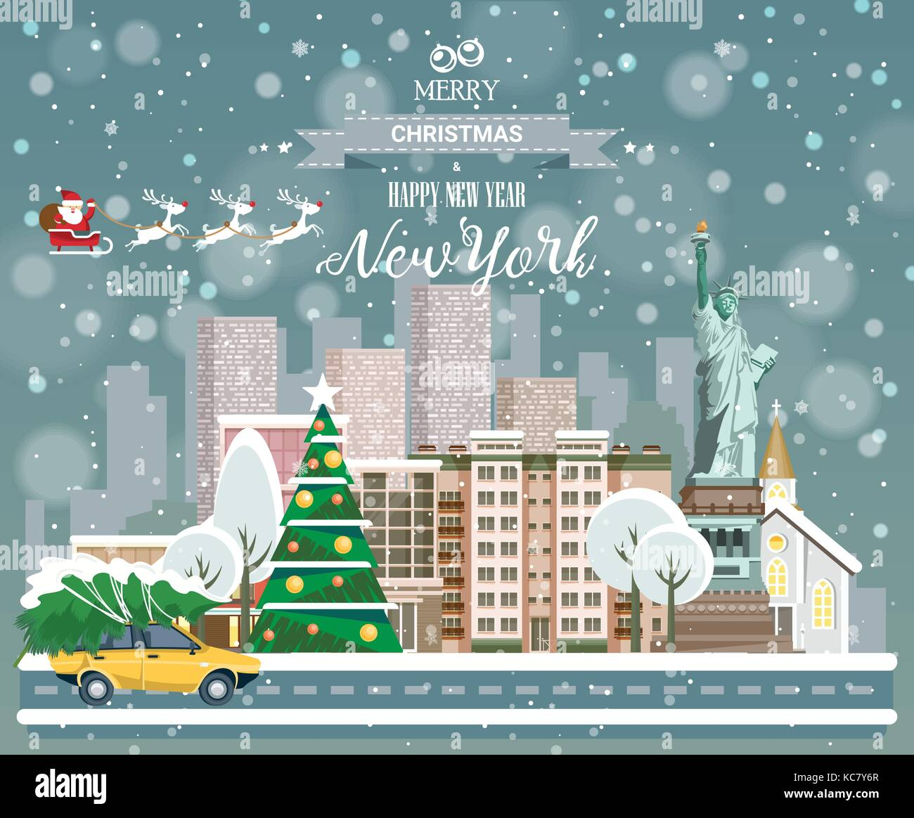 Christmas greeting card. Poster in flat style. Merry Christmas and ...