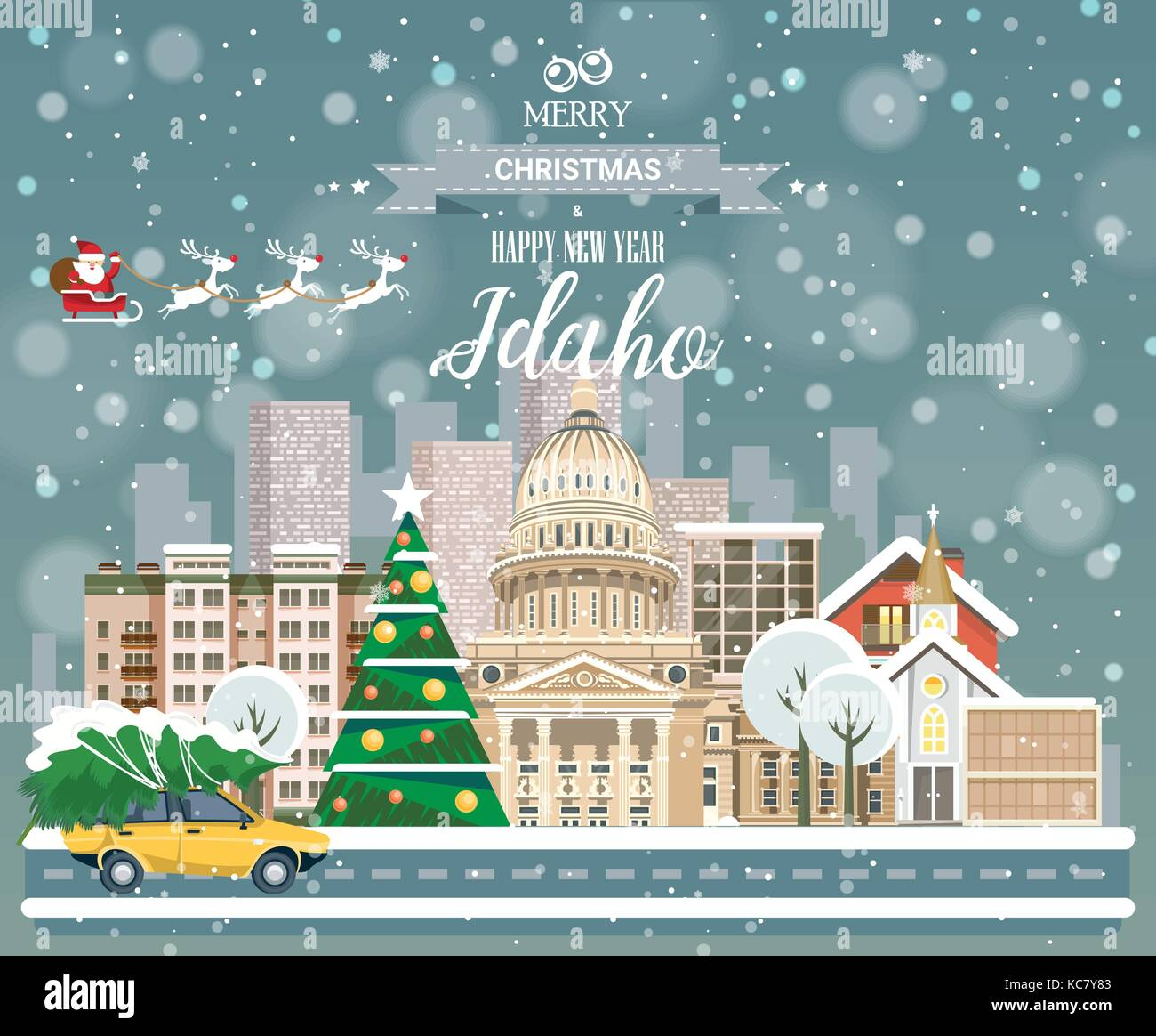 Christmas greeting card. Poster in flat style. Merry Christmas and Happy New Year, Idaho - Stock Vector
