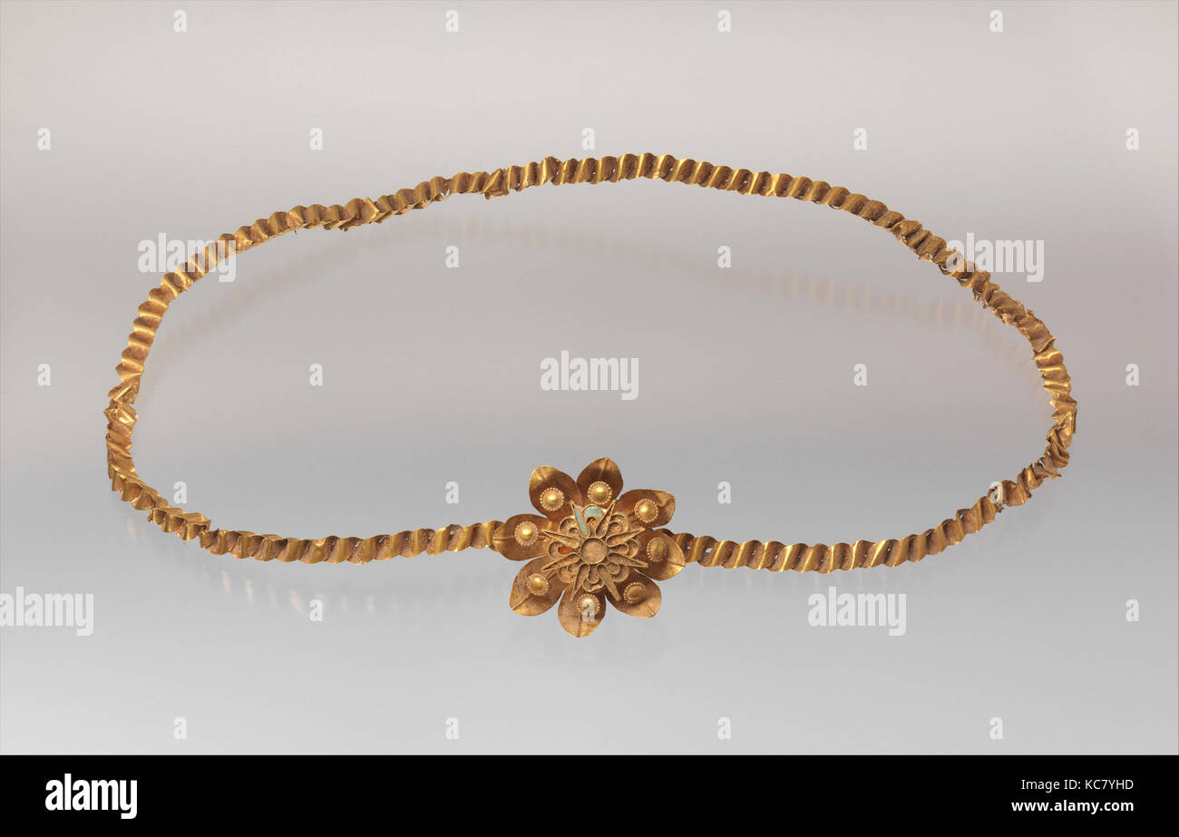 Diadem, Late Period-Ptolemaic Period, 4th–2nd century B.C., From Egypt, Gold, glass, carnelian, L. 46 × H. - Stock Image