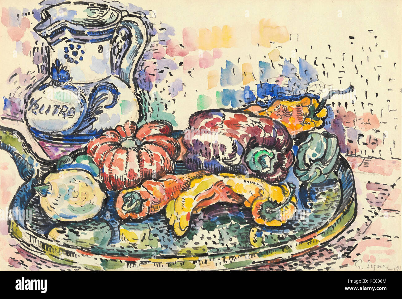 Still Life with Jug, 1919, Graphite and watercolor, 11 7/8 x 17 5/8 in. (30.2 x 44.8 cm), Drawings, Paul Signac Stock Photo