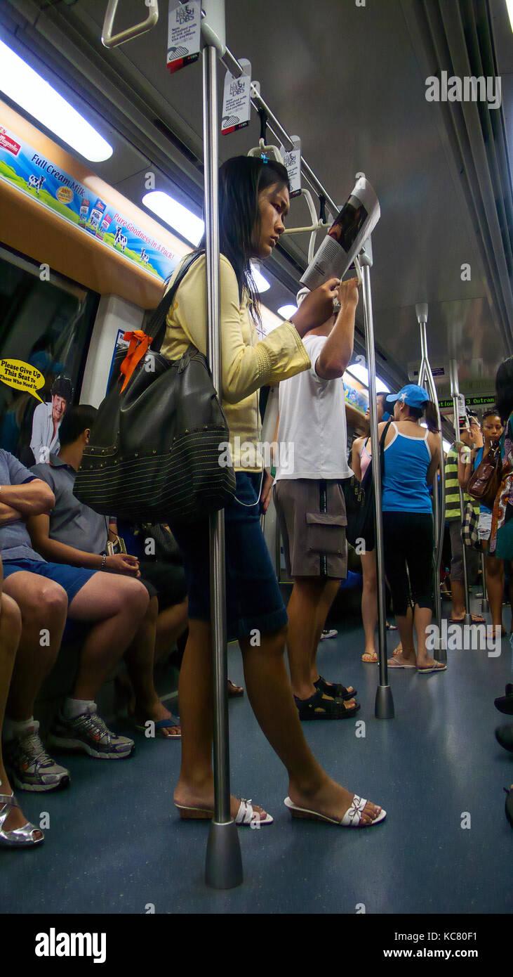 Singapore MRT underground subway train Stock Photo