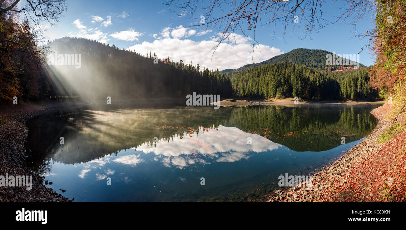 gorgeous foggy morning on the mountain lake. beautiful moment of sun rays path through forest and fog. lovely panoramic Stock Photo