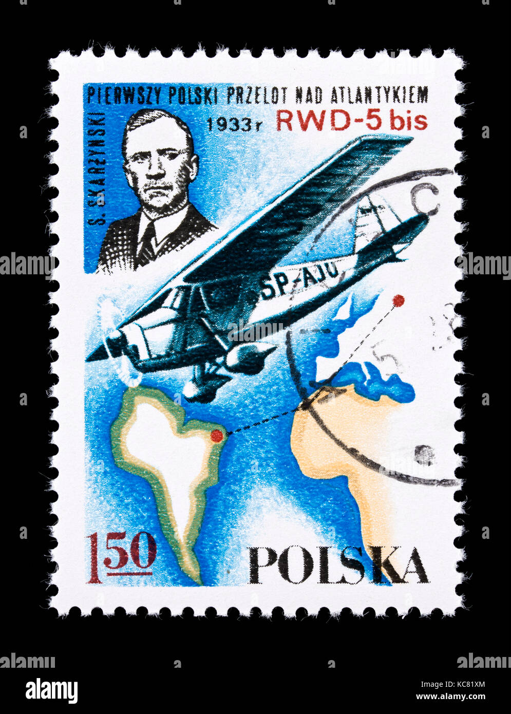 Postage stamp from Poland depicting RWD-5 bis airplane over the south Atlantic and S. Skarzynski - Stock Image