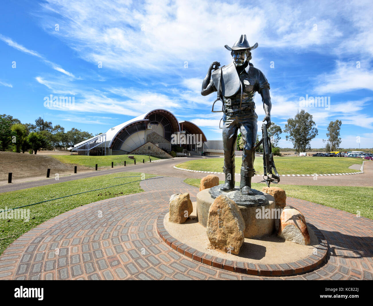 Statue of a Stockman outside the Stockman's Hall of Fame at Longreach, Central West Queensland, QLD, Australia - Stock Image