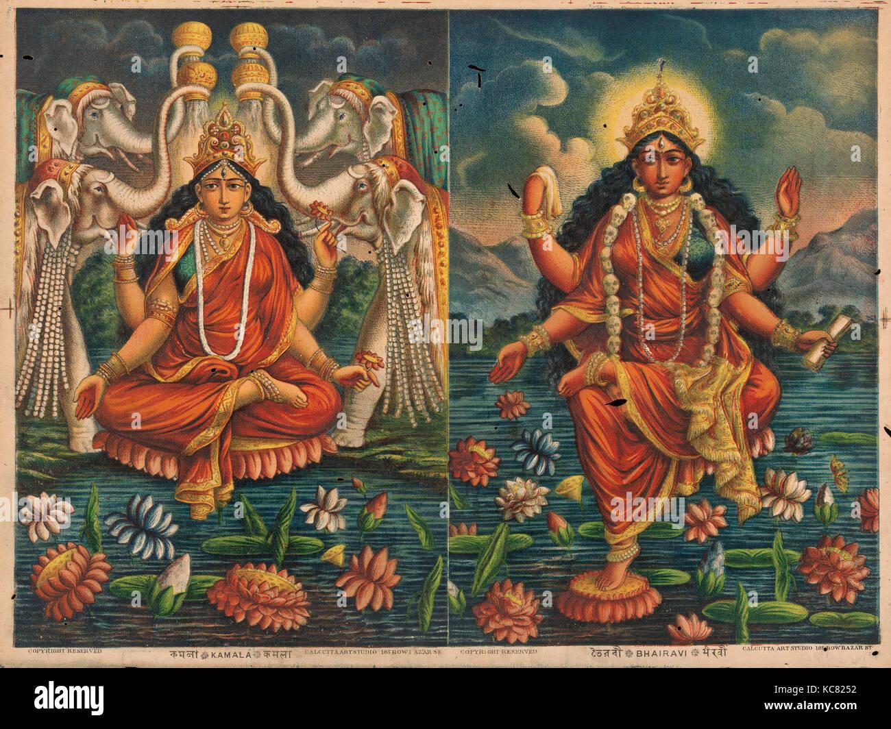 Kamala/ Bhairavi, 1885–90, India, Chromolithographic print on paper, Image: 11 1/4 × 15 1/4 in. (28.6 × - Stock Image