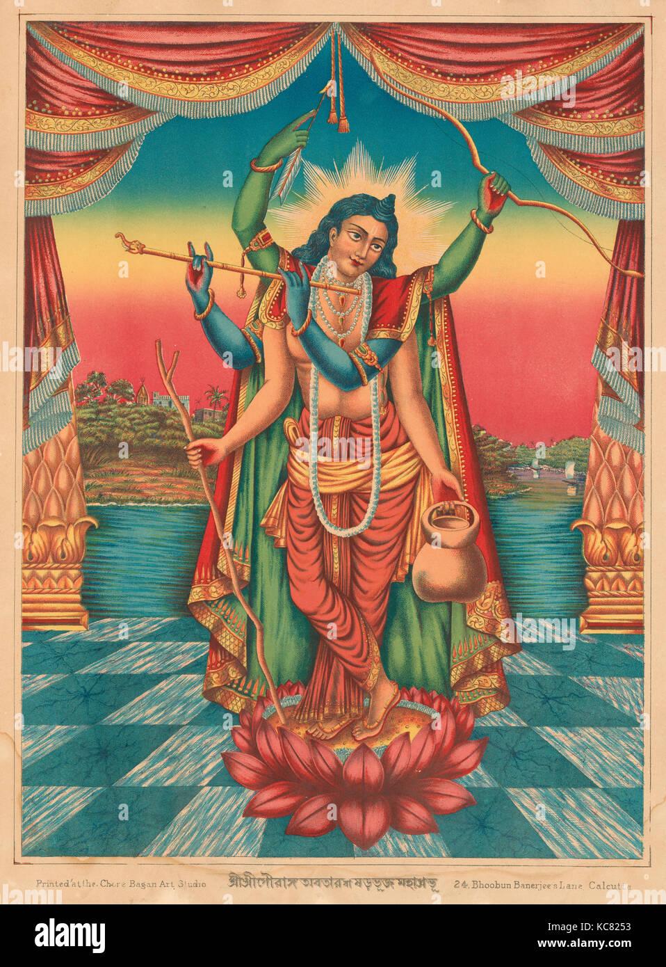 Shri Shri Guranga Avatara, 1895, India, Chromolithographic print on paper, Image: 14 5/8 × 10 7/8 in. (37.1 - Stock Image