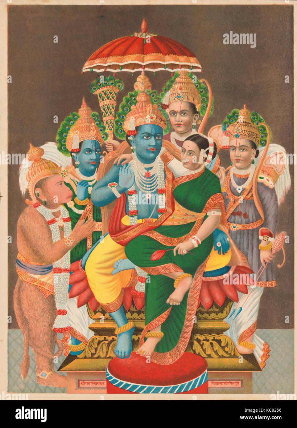 Rampanchayatam (Ram's assembly), 1878 (?), India, Chromolithographic print on paper, Image: 19 × 14 in. (48.3 - Stock Image
