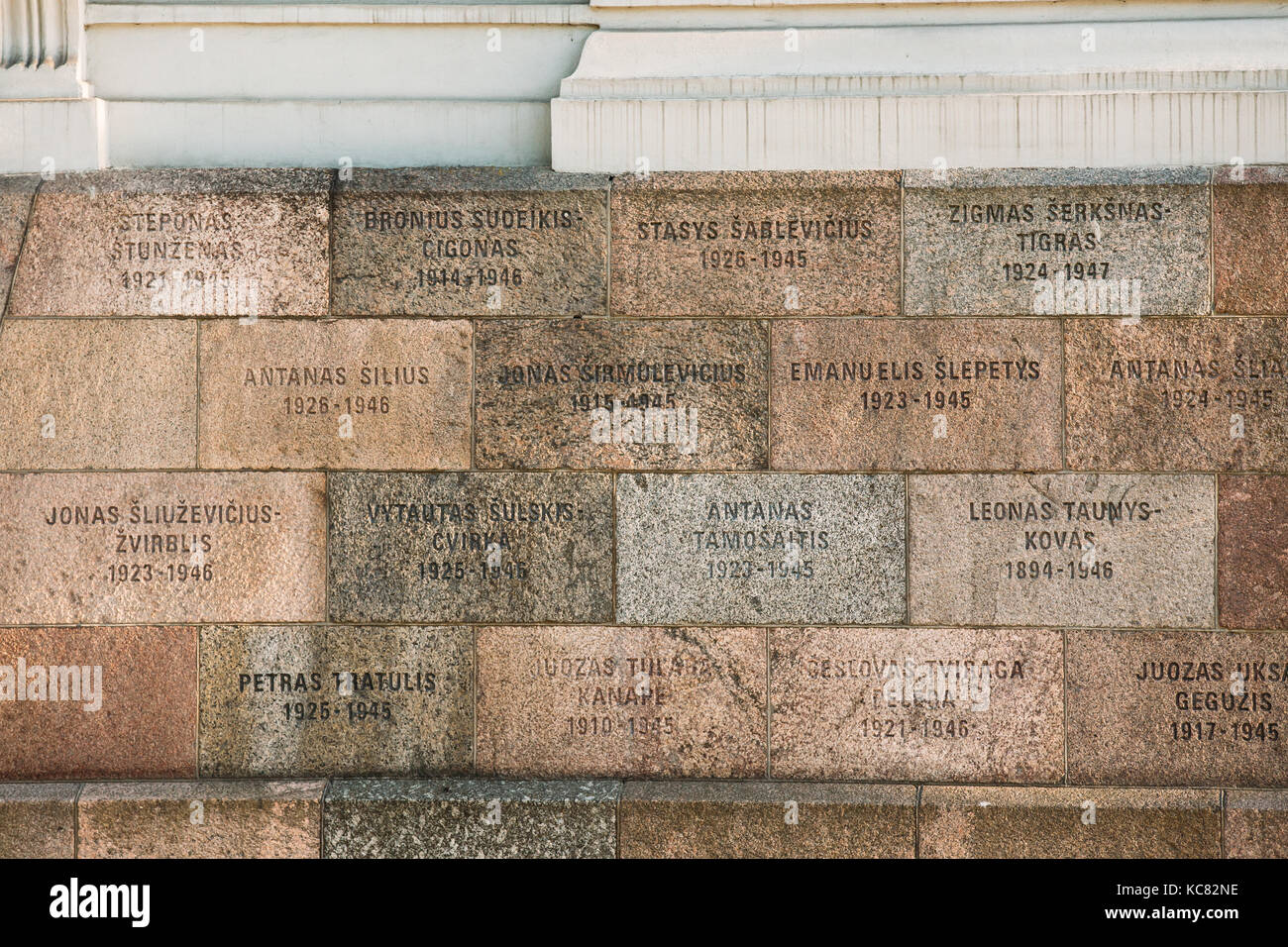 Vilnius, Lithuania - July 7, 2016: Inscriptions Of Names On Wall Of Museum Of Genocide Victims Located In Former - Stock Image