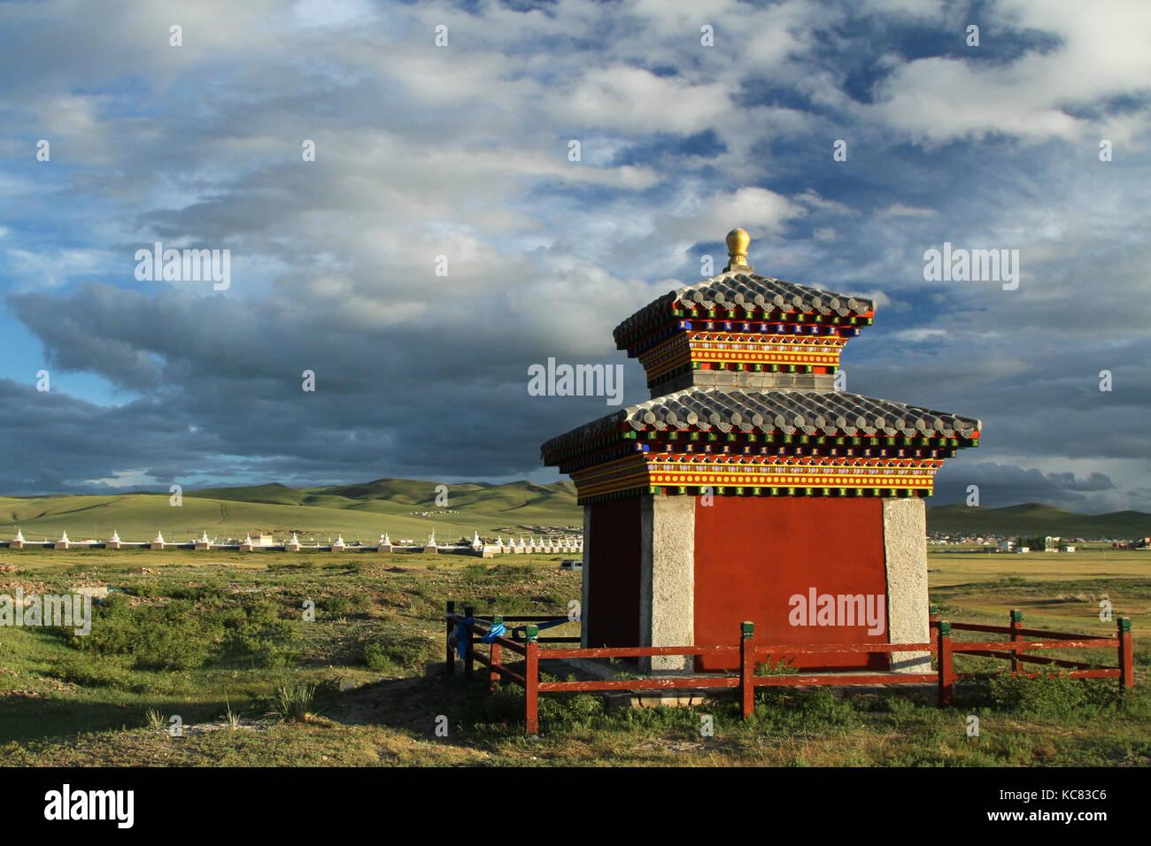 Small countryside temple near Kharkhorin - Stock Image
