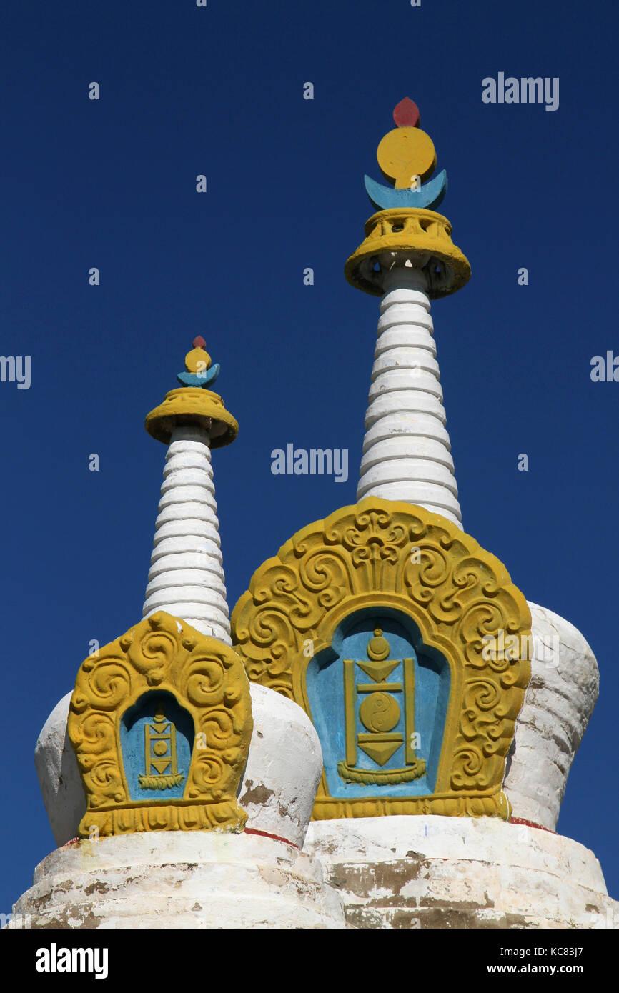 Stupas of Erdene Zuu Monastery - Stock Image