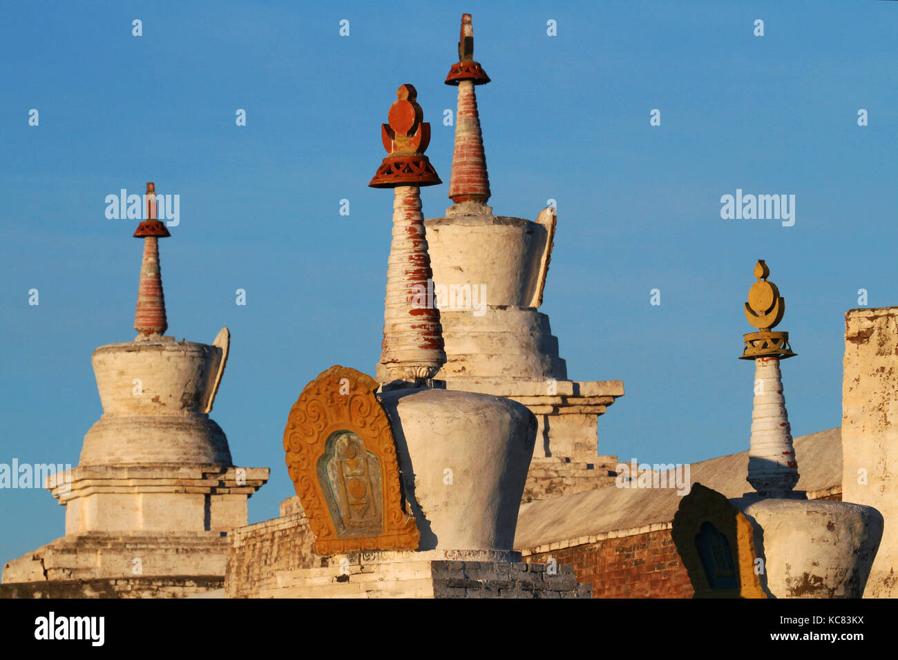 White stupas of Erdene Zuu in light of dawn - Stock Image