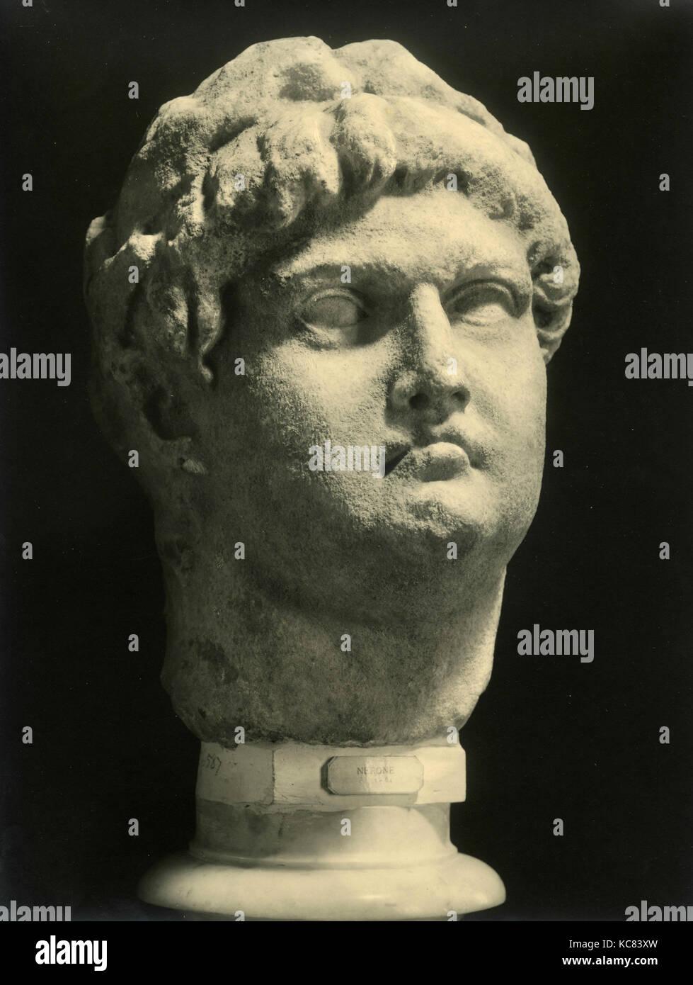 Roman Emperor Nero, marble statue - Stock Image