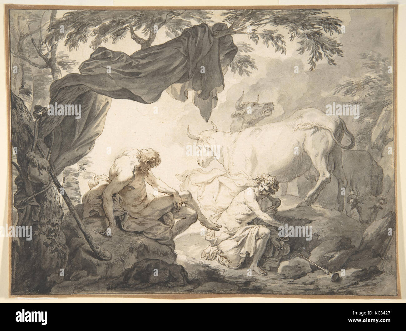 Illustrations to the Metamorphoses of Ovid: Jupiter and Io (.1); Jupiter and Io, disguised as a white beifer - Stock Image