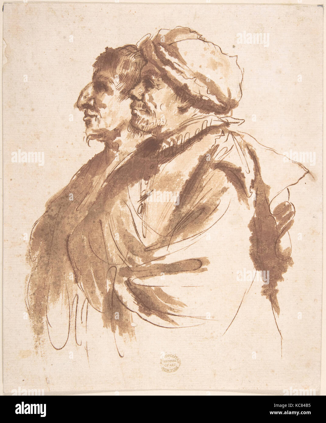 Two Men, Depicted Half-Length, in Profile, After Guercino, 17th century - Stock Image