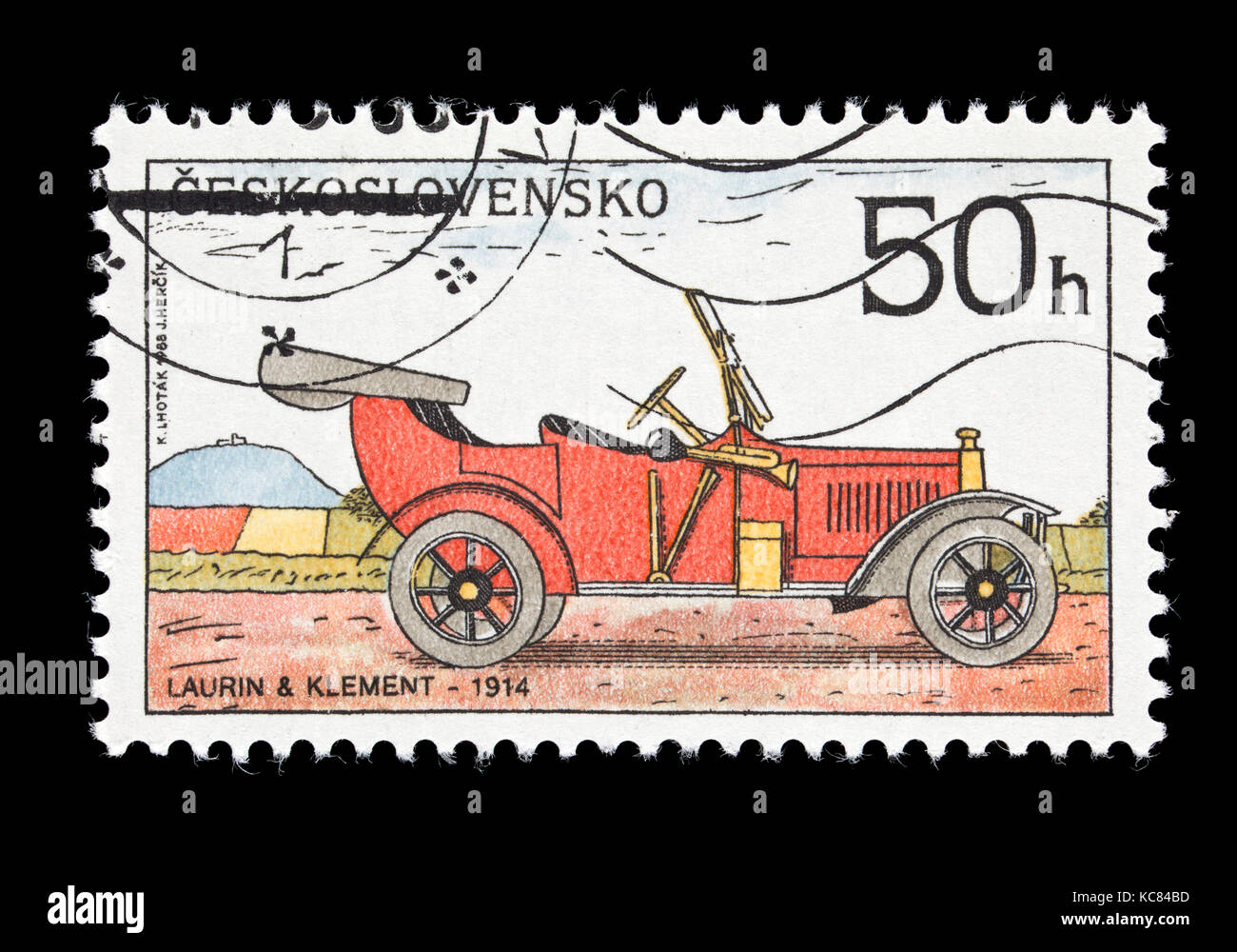 Postage stamp from Czechoslovakia depicting a 1914 Laurin and Klement classic automobile - Stock Image