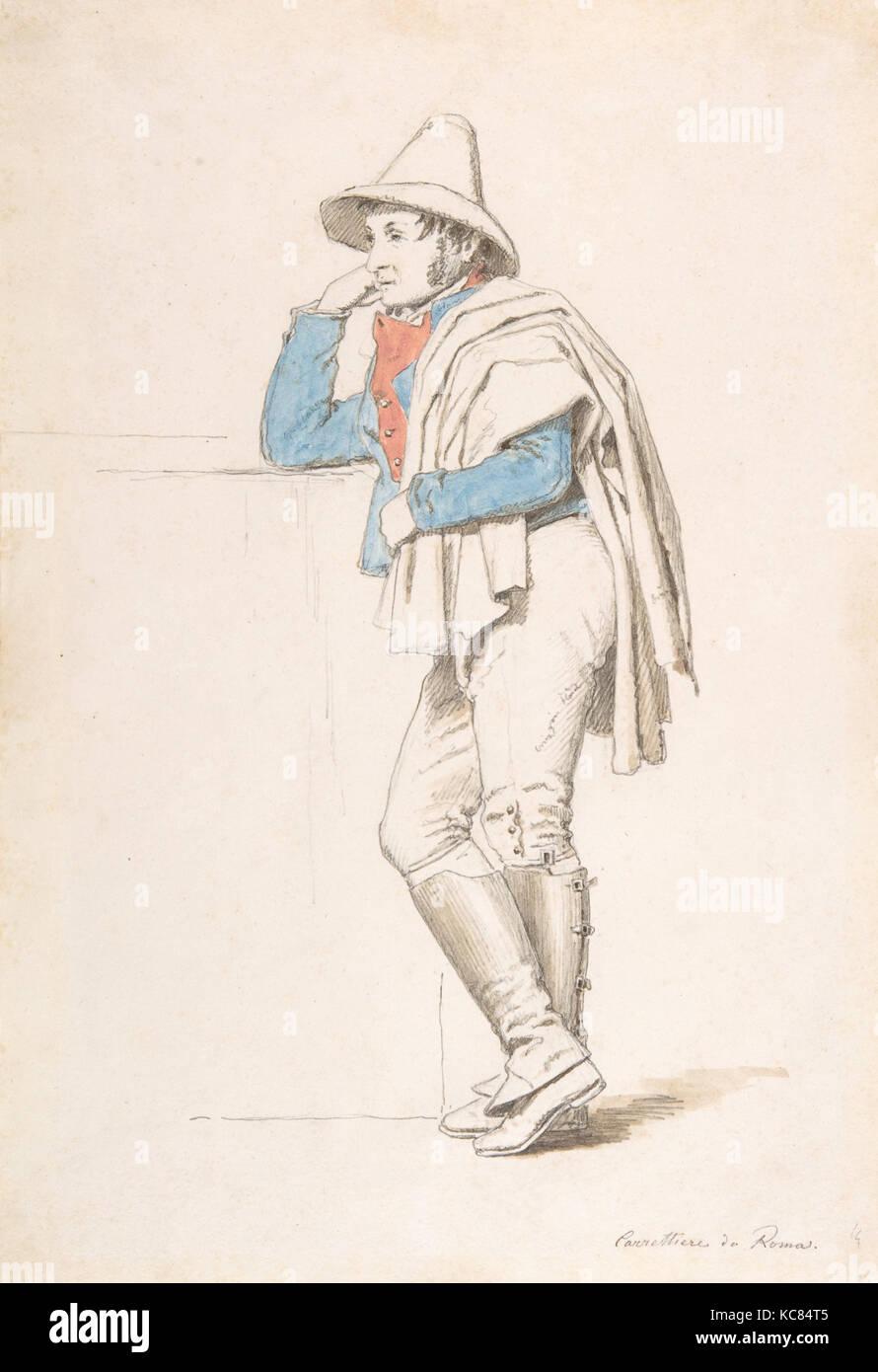 Study of a Roman Coachman, Martinus Rørbye, early 19th century - Stock Image