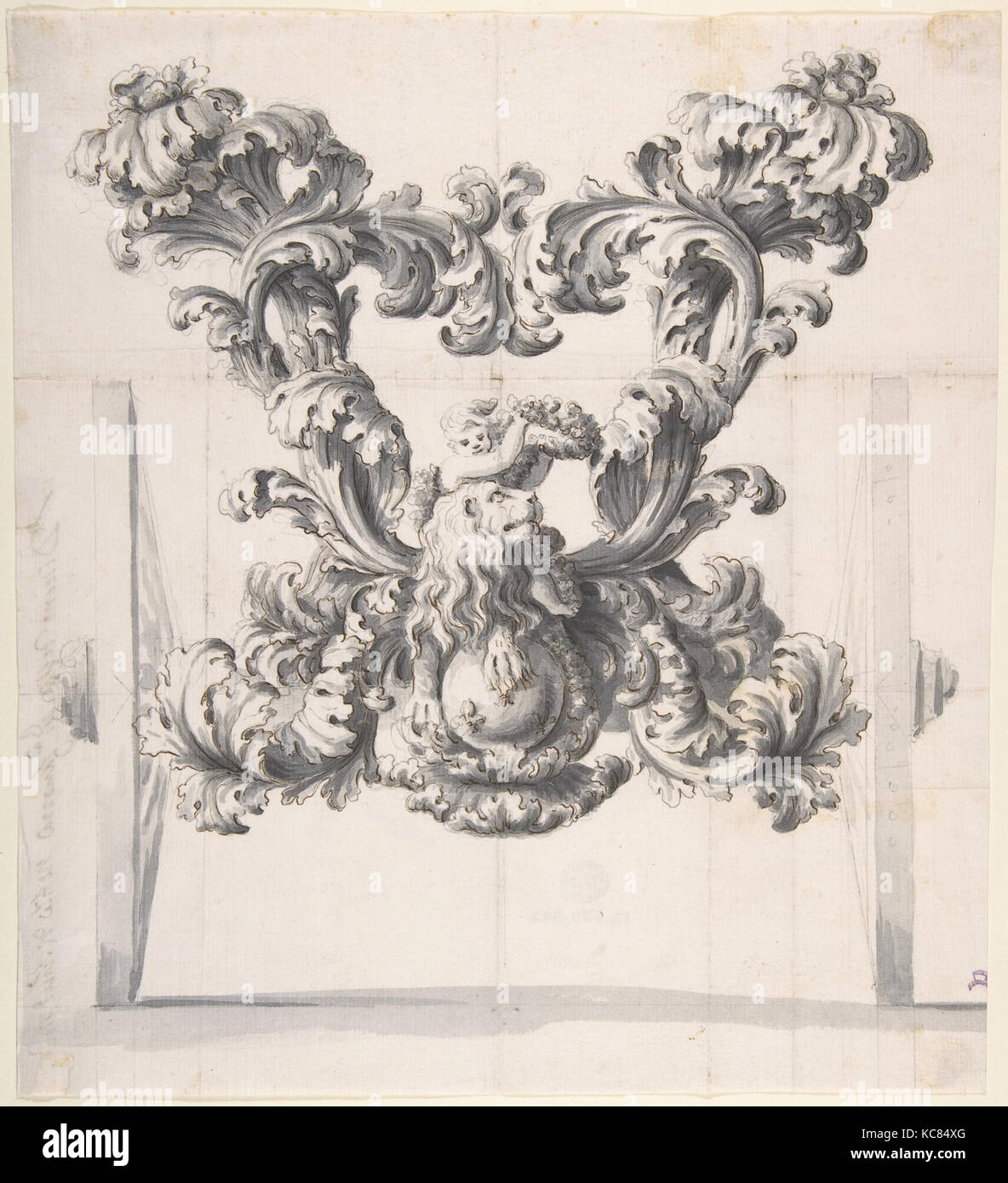 Rear View of an Elaborate Design for a Carriage with Acanthus Leaves and a Putto and Lion on top of a Ball - Stock Image