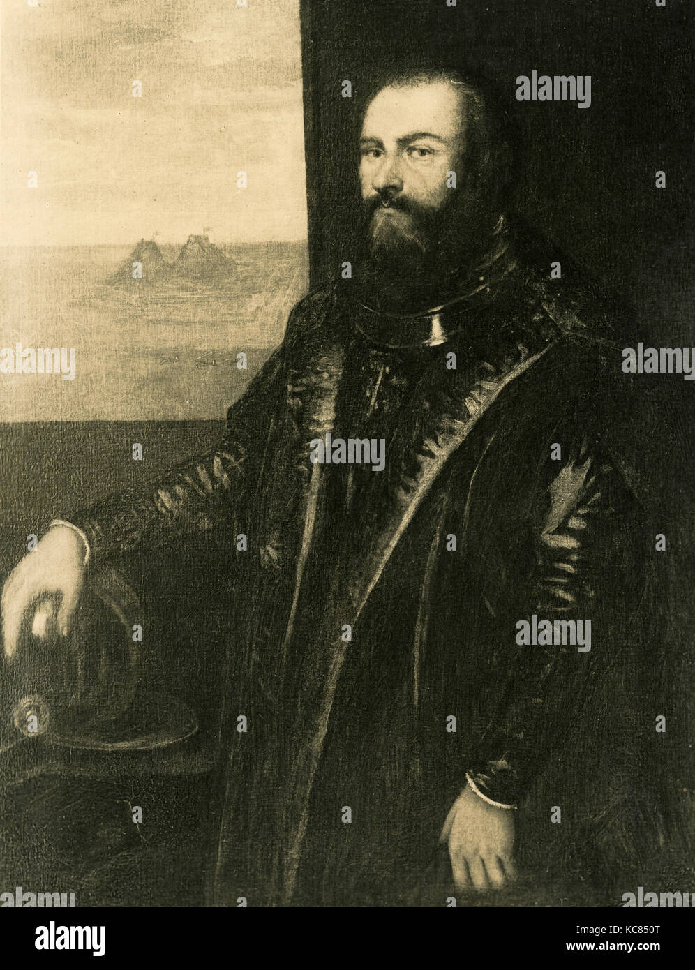 Portrait of Venetian admiral Sebastiano Veniero, painting by Jacopo Robusti aka Tintoretto - Stock Image