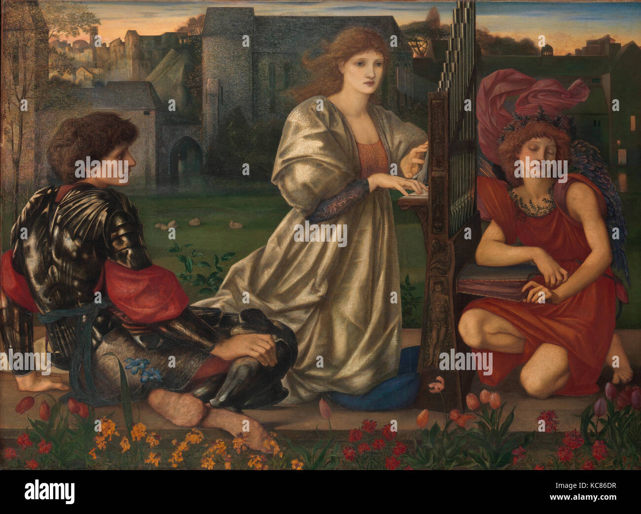 The Love Song, 1868–77, Oil on canvas, 45 x 61 3/8 in. (114.3 x 155.9 cm), Paintings, Sir Edward Burne-Jones (British Stock Photo
