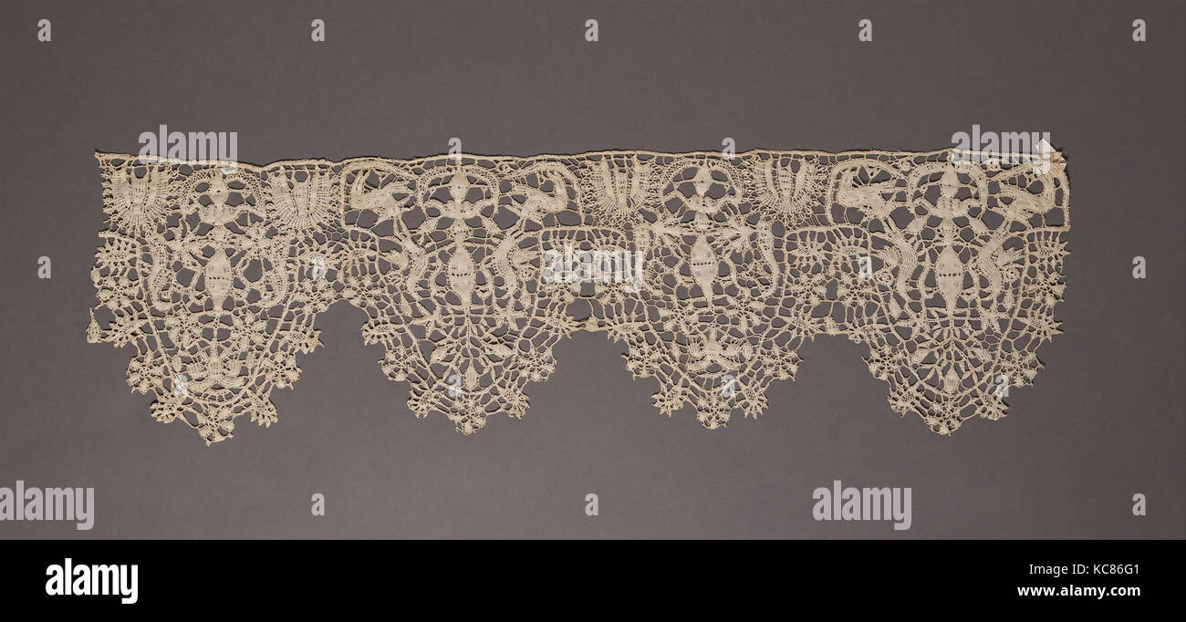 Border 17th Century Italian Or Flemish Bobbin Lace L 22 X