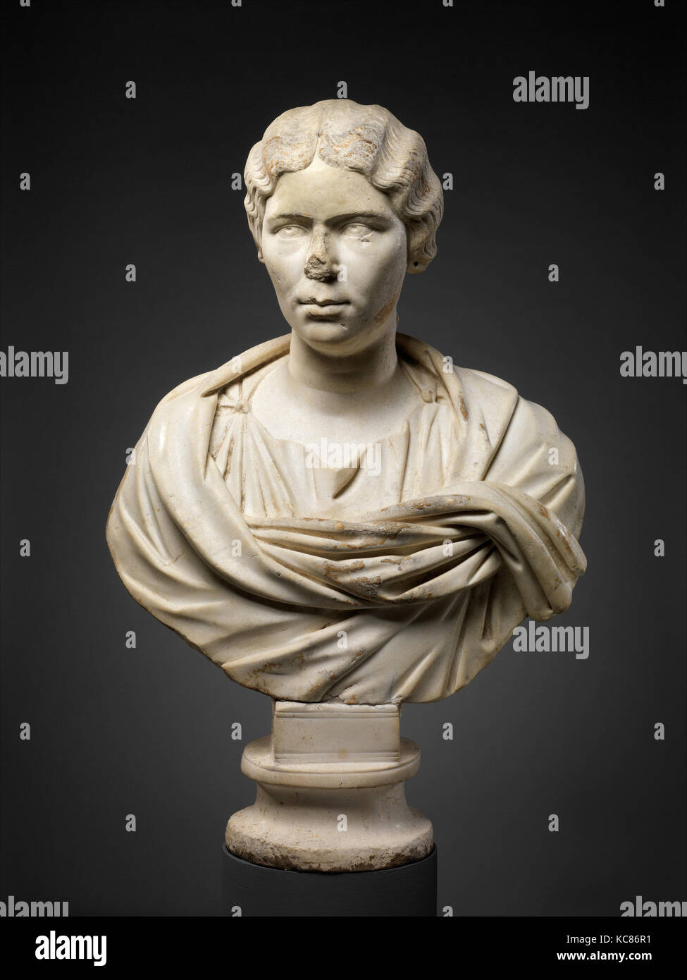Marble portrait bust of a woman, Antonine, ca. A.D. 155–165, Roman, Marble, 29 3/4 in. × 19 1/2 in. × - Stock Image