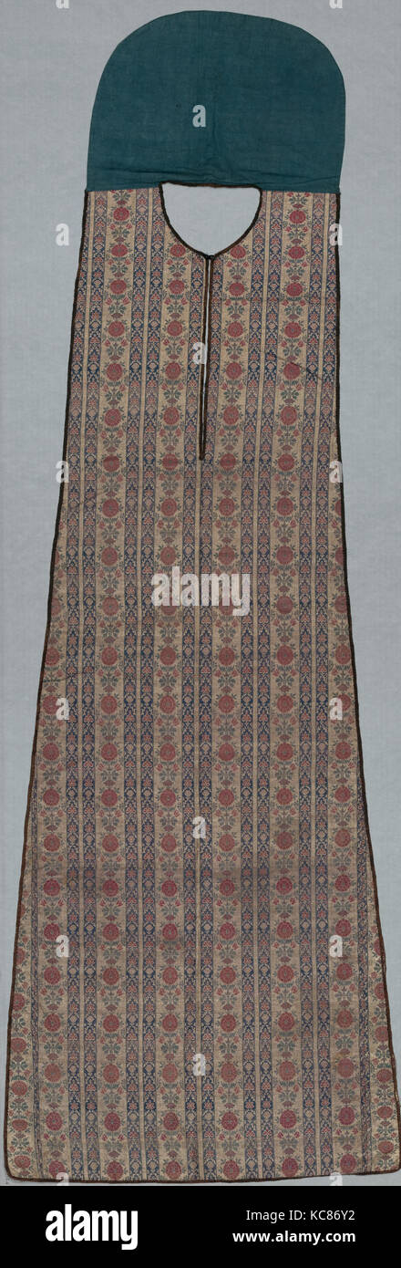 Barber's Apron, late 18th century, Country of Origin Iran, Silk, metal-thread; weft-faced compound plain weave, Stock Photo