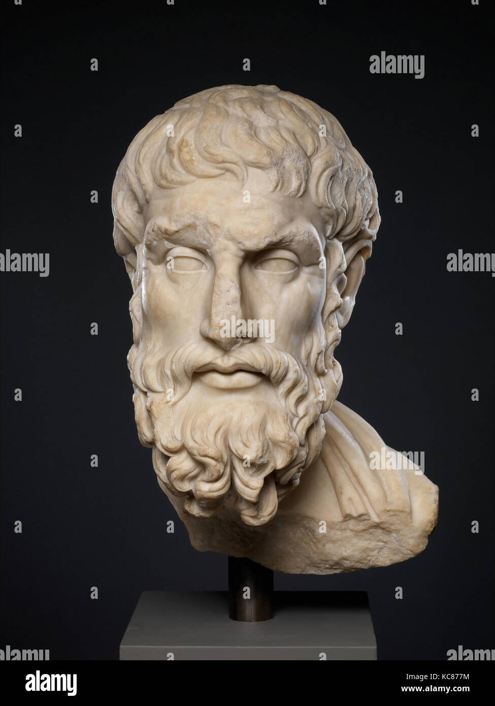 Marble head of Epikouros, Imperial, 2nd century A.D., Roman, Marble, Pentelic, 19 5/8 × 9 3/4 × 11 1/2 in. (49.8 Stock Photo