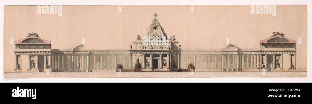 Elevation of a Monument, Attributed to Jean Jacques Huvé, n.d Stock Photo