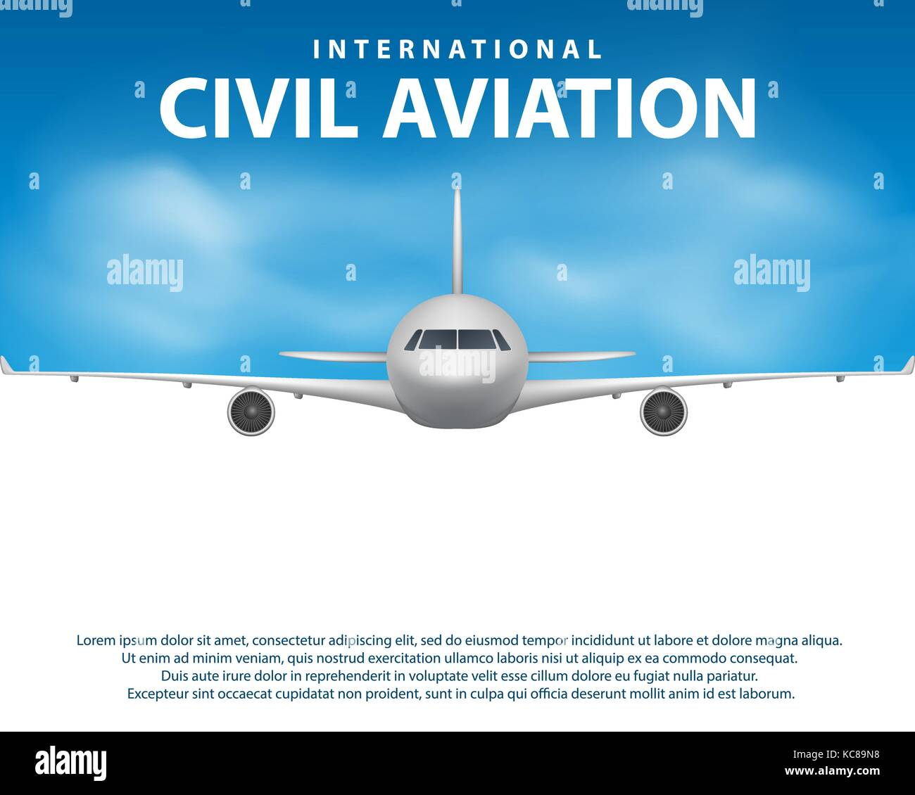 Banner, poster, flyer with Airplane background. Plane in blue sky, civil aviation airliner. Commercial airliner - Stock Image