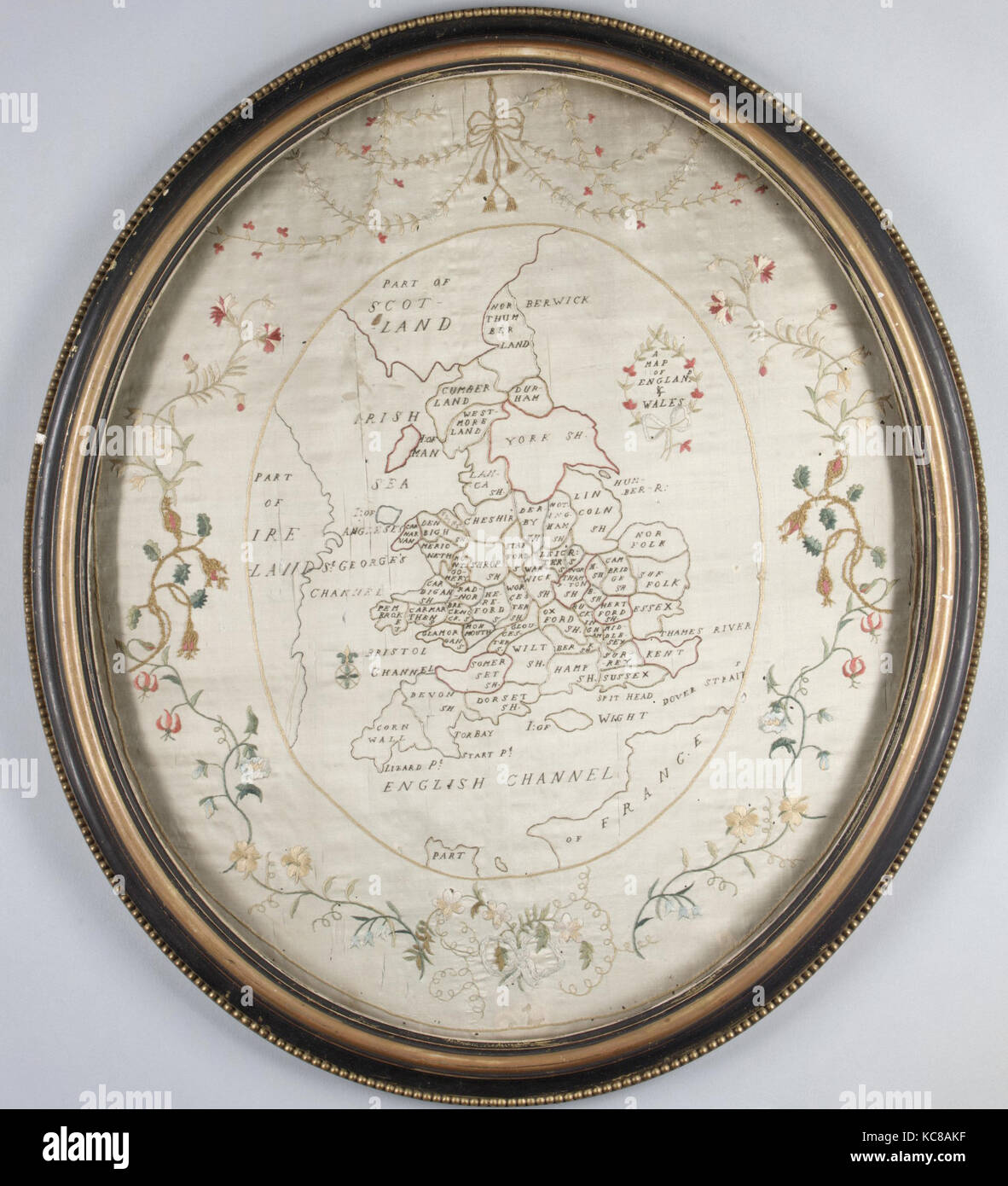 Map sampler, late 18th–early 19th century, British, Silk embroidery on silk, H. 19 1/4 x W. 16 1/2 inches (48.9 - Stock Image