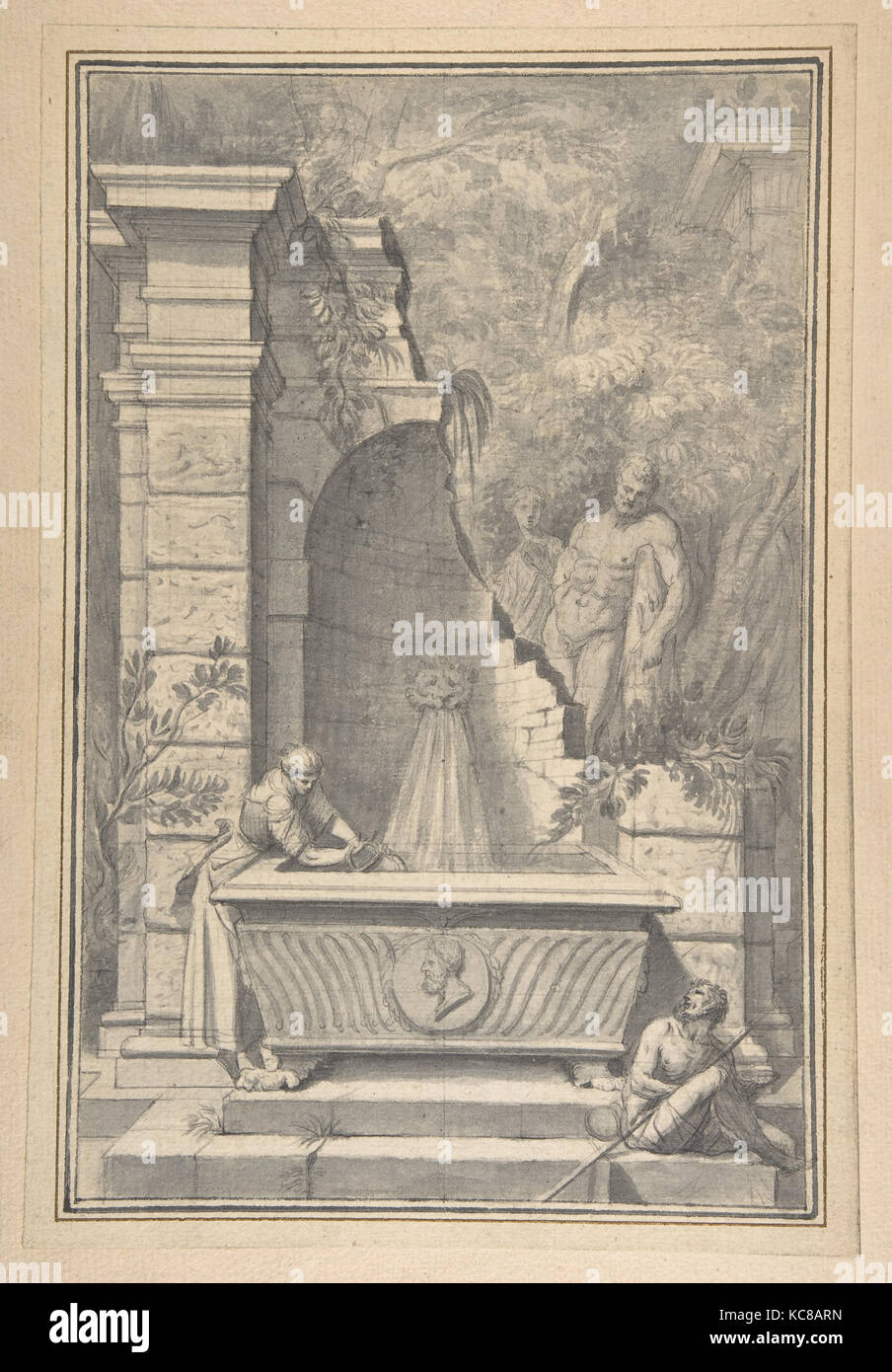 A Woman at a Fountain by a Ruined Temple, the Farnese Hercules in the Background, Johannes Antiquus, 18th century - Stock Image