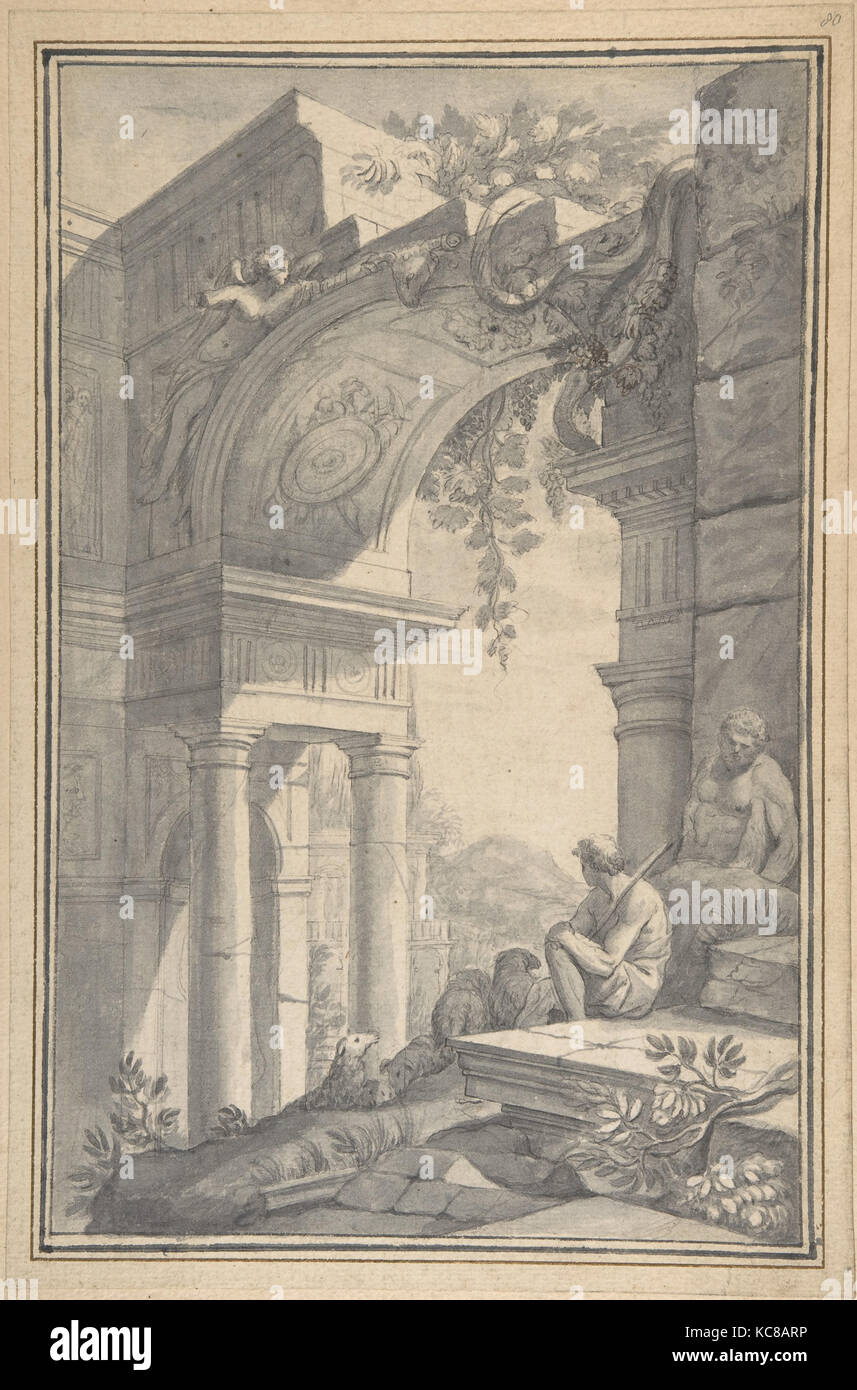 A Shepherd under a Ruined Arch with the Farnese Hercules, Johannes Antiquus, 18th century - Stock Image