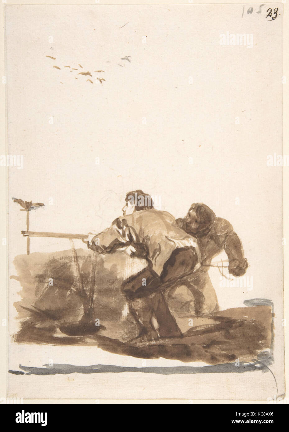 Bird Hunters with a Decoy, from Images of Spain Album (F), 105, Goya, 1812–20 - Stock Image