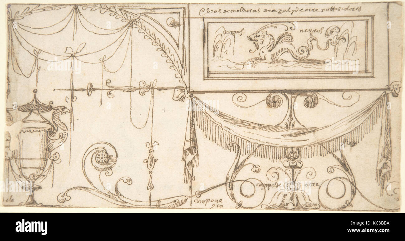 Design for a Wall Decoration with Grotesques and Color Indications, attributed to Andrés de Melgar, ca. 1545–60 - Stock Image