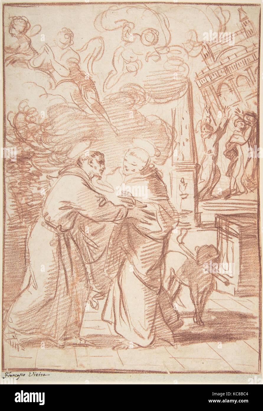 Saint Francis Meeting Saint Dominic, Francisco Vieira de Mattos, 1699–1783 - Stock Image