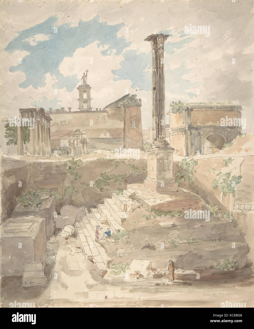 View of the Roman Forum, unexcavated, Attributed to Sir Charles Barry, 1840 - Stock Image