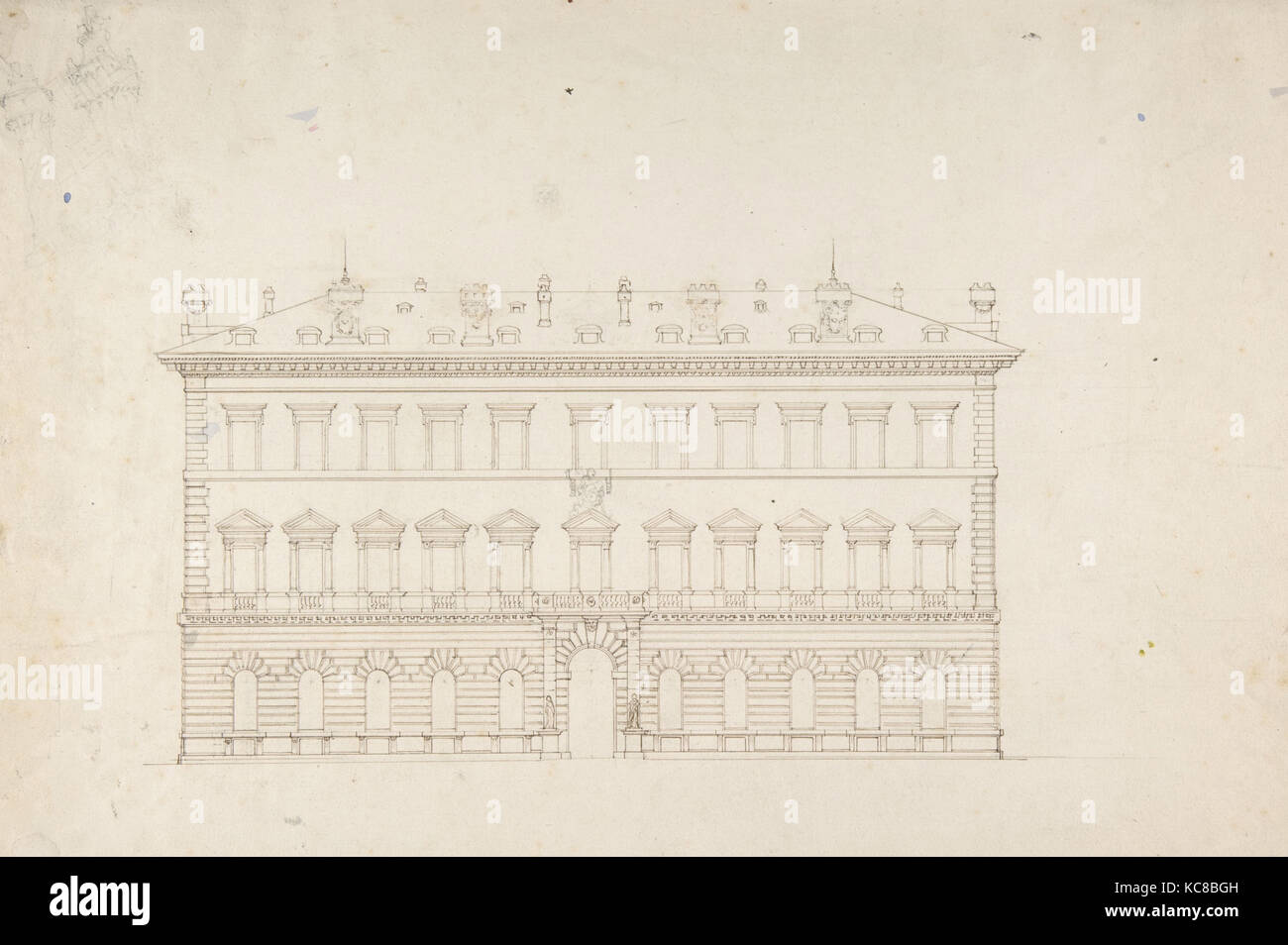 Design for a Public Building in the Italian Renaissance Palazzo Style, Attributed to Sir Charles Barry, ca. 1840 - Stock Image