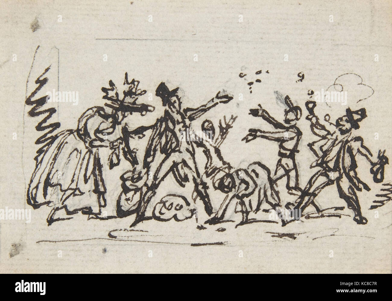 A Group of Figures, ca. 1850, Pen and brown ink over graphite, Overall: 3 1/16 x 3 7/8 in. (7.8 x 9.9 cm), Drawings, Stock Photo