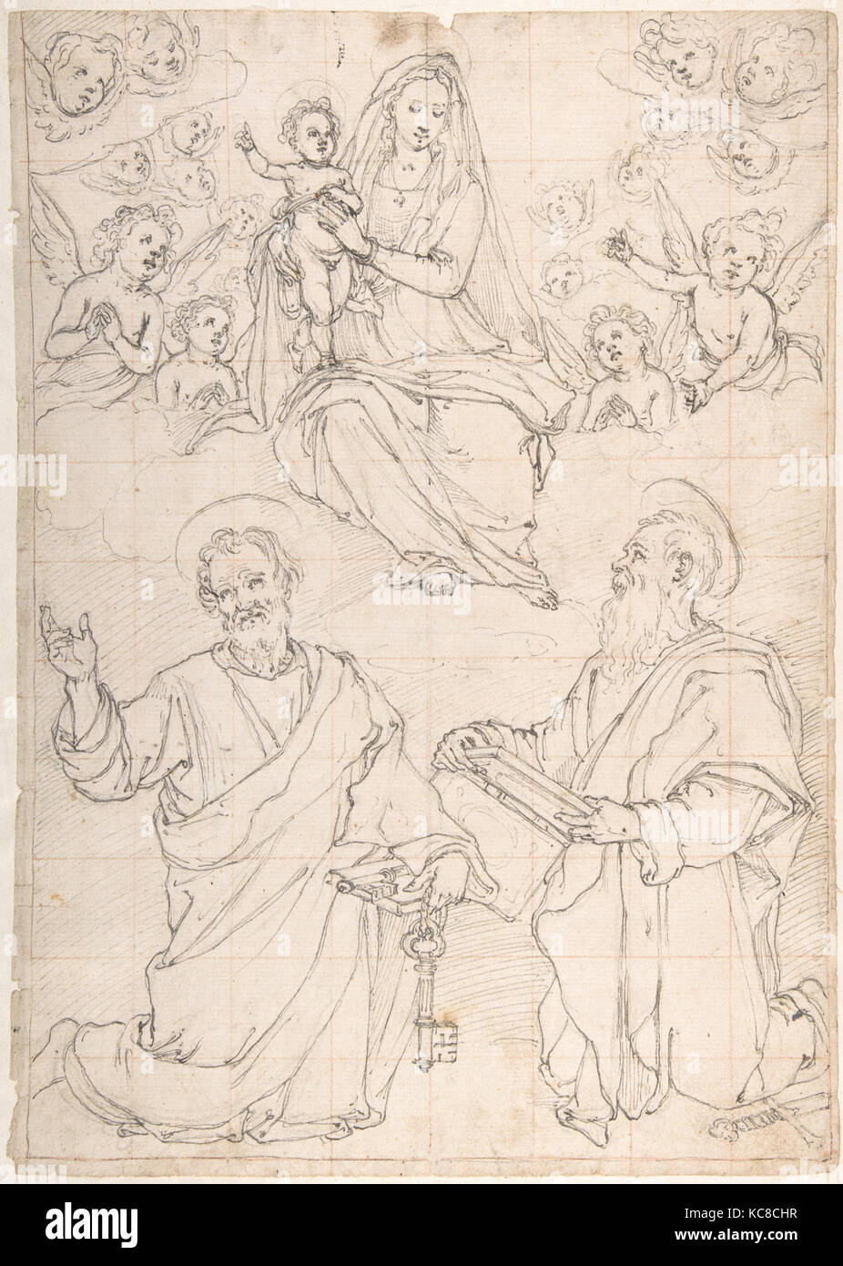 Virgin and Child Appearing in a Glory of Angels to Saint Peter and Saint Paul, Jacopo da Empoli, 1551–1640 Stock Photo