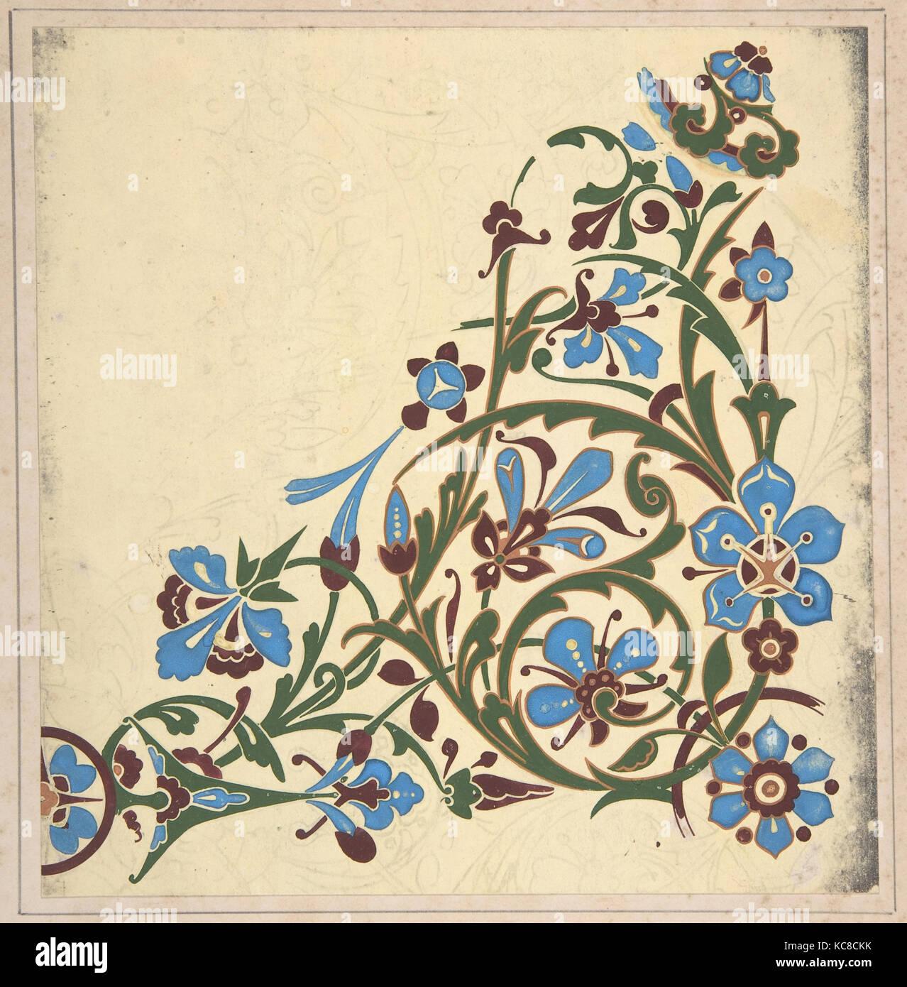 Design for a Floral Pattern, Christopher Dresser, ca. 1883, based on earlier design - Stock Image