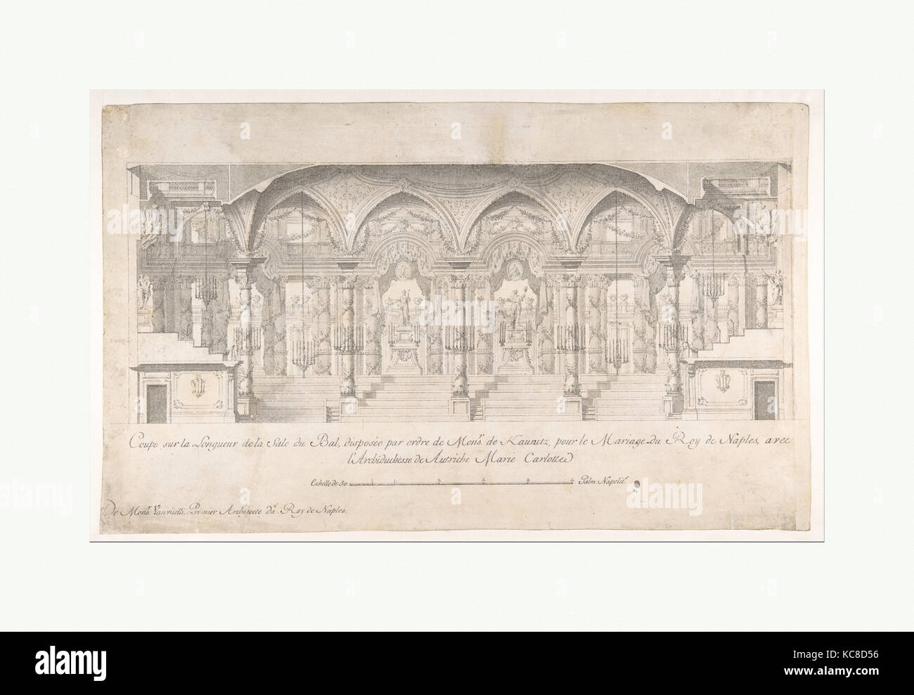 Longitudinal Section of a Ballroom Decorated for the Marriage of the King of Naples to the Archduchess of Austria Stock Photo