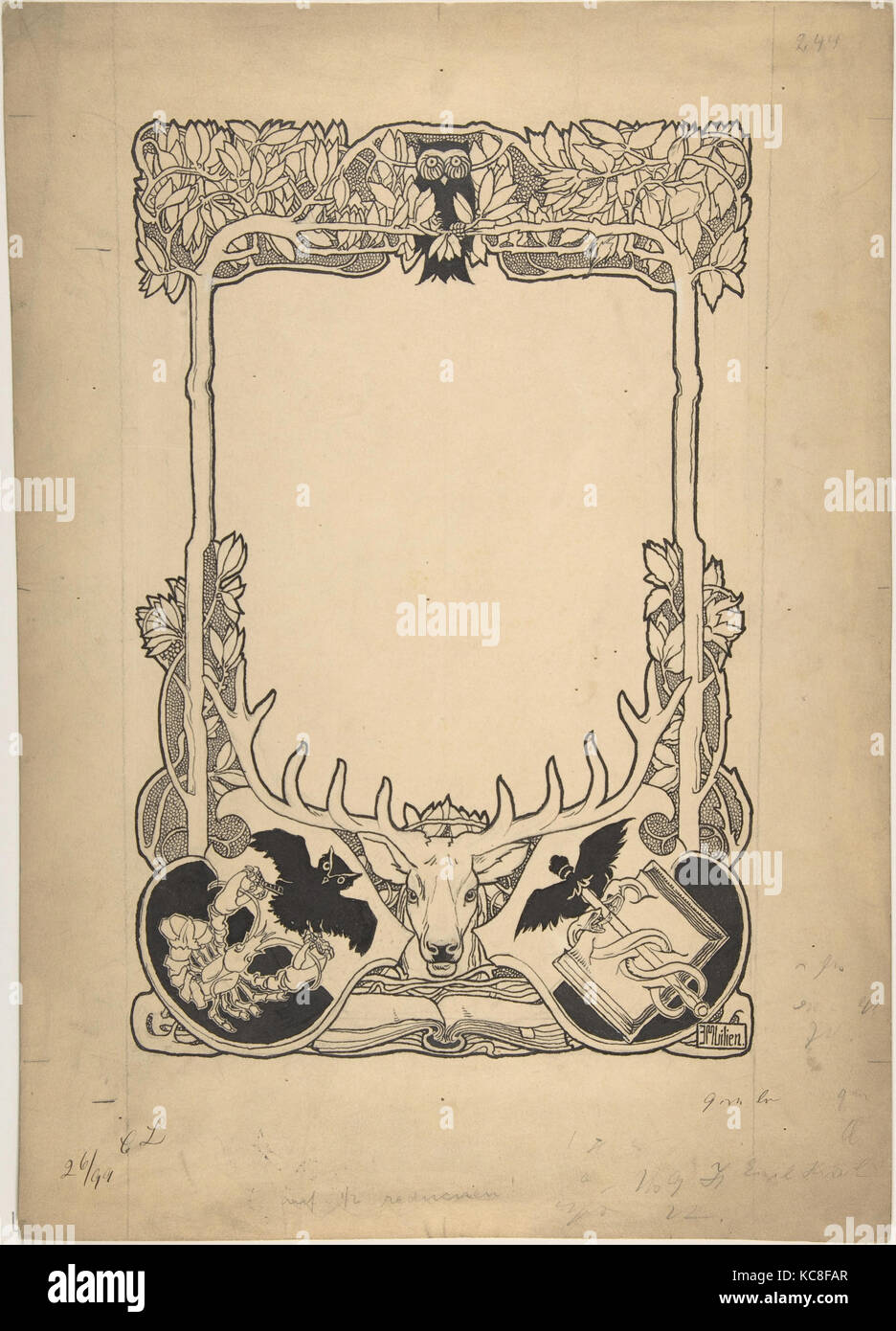 Design for Cover of Book Catalogue of Emil Hirsh, Munich, Ephraim Mose Lilien, late 19th–early 20th century - Stock Image